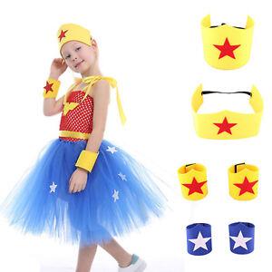 Girls Wonder Woman Dress Up Set Tutu Crown Arm Gauntlets Fancy Dress Costume NEW