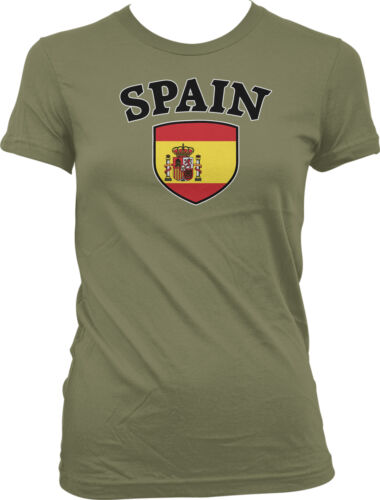 Details about  /Spain Flag Crest Spanish Espana Bandera National Country Pride Juniors T-shirt