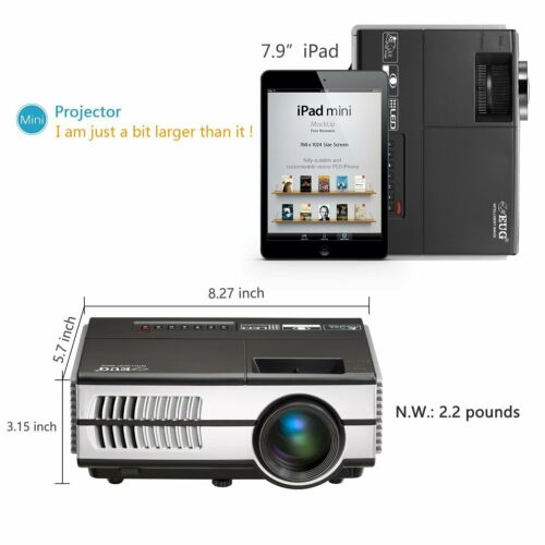 EUG HD 1080P Movie LED Projector Party Xbox Game Home Proyector HDMI VGA USB US