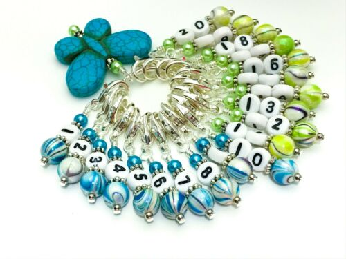1-20 Numbered Stitch Markers /& Blue Butterfly Holder Row Counter