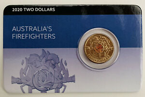 Australia 2020 Firefighters $2 Two Dollars Coloured UNC Coin Carded