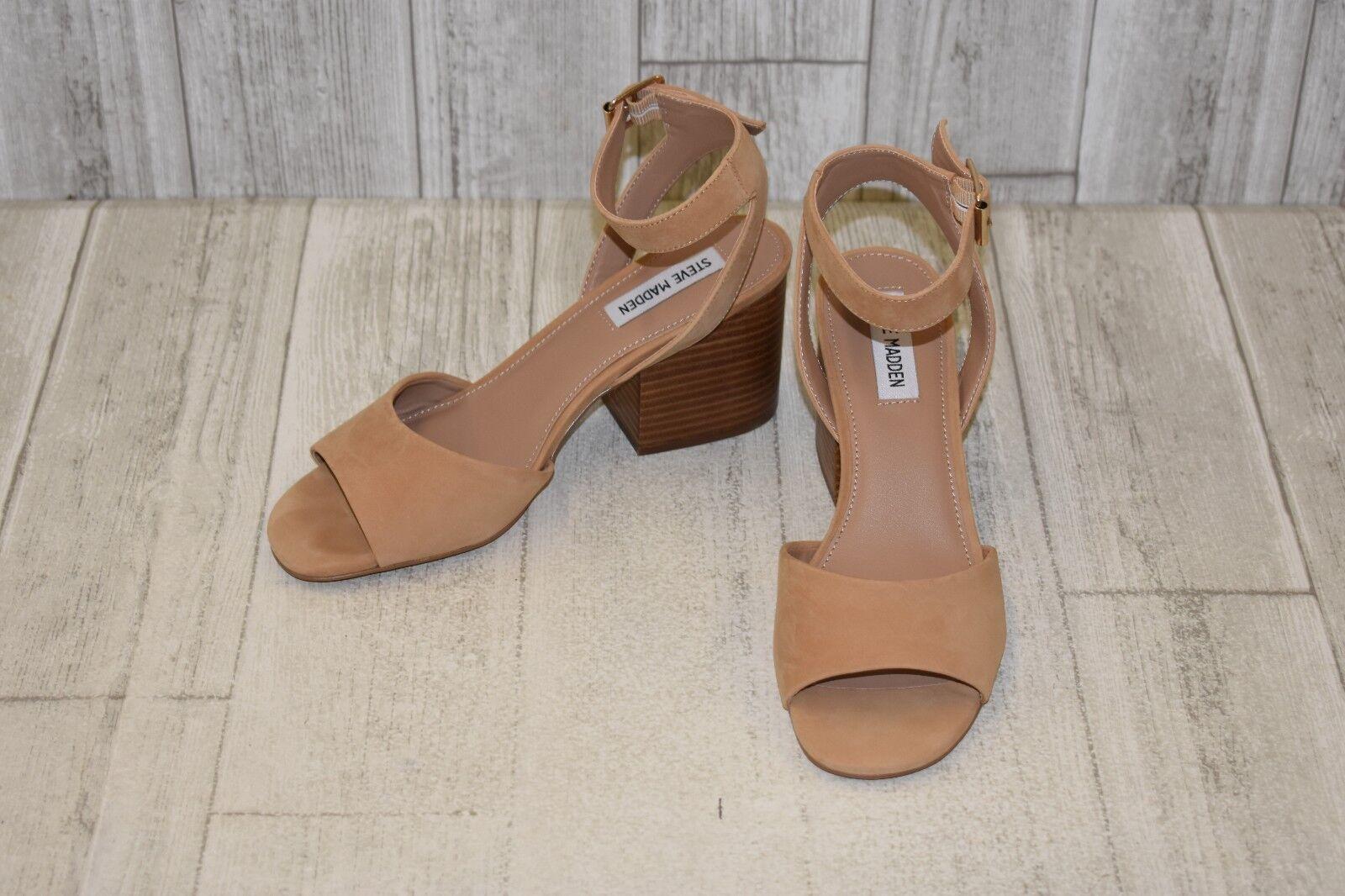 Steve Madden Devlin Nubuck Ankle Strap Sandals, Women's Size 8M, Tan