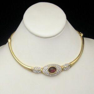 Vintage-Collar-Necklace-Glamorous-Purple-Glass-Stone-Clear-Rhinestones-Elegant
