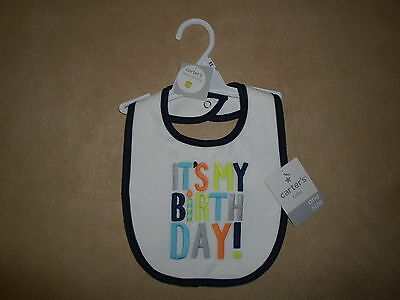 """Carter/'s Baby Little Occasions /""""It/'s My Birthday/"""" Blue Trimmed Bib~NEW WITH TAGS"""