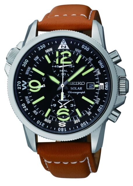 New Seiko SSC081 Solar Chronograph Compass Black Dial Mens Leather Watch