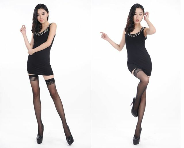 Black Women Sexy Thigh High Stockings Tights Hold Ups Stay Up Lace Top