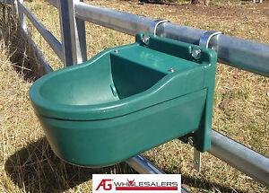 WATER TROUGH 9.3L & STEEL BRACKET - AUTOMATIC FLOAT - FENCE DRINKER HORSE CATTLE