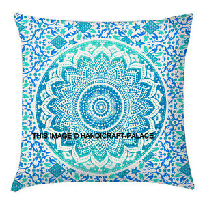 Indian-Boho-Mandala-Scatter-Cushion-Covers-Green-Ombre-Pillow-Cover-Large-Sham