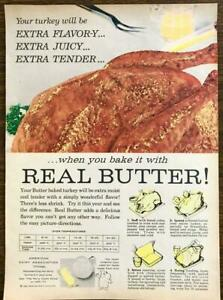 1958 American Dairy Assn Thanksgiving PRINT AD Bake Your Turkey w Real Butter