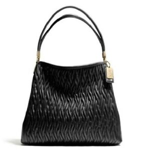 NWT-Coach-Madison-Gathered-Twist-Leather-Phoebe-Shoulder-Bag-26257-Black-458