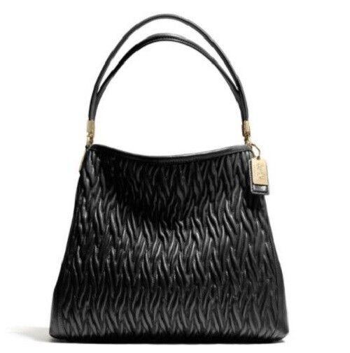 Coach 26257 Madison Gathered Twist Leather Small Phoebe Shoulder Bag Black Ebay