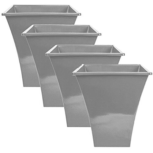 4 X Silver Large Plant Pots Planters Indoor Outdoor Garden Tall Plastic Planter For Online Ebay
