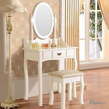 White Vanity Dressing Table Jewelry Makeup Desk Wood w/Stool Drawer & Mirror