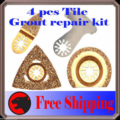 4pc Diamond Carbide Grout Oscillating MultiTool Saw Blade For Dremel Bosch Fein