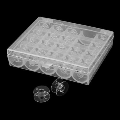 25Pcs Clear Empty Plastic Bobbins Spool Case Box for Brother Janome Singer Elna