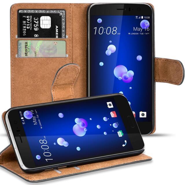 Handy Hülle für HTC U11 Case Schutz Tasche Cover Basic Flip Bookcase Schwarz