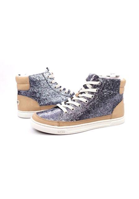 a8af416b274 UGG Gunmetal Gradie Glitter Leather Sneaker Ankle BOOTS US 5/ EUR 36