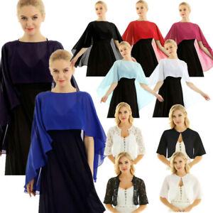 Fashion-Womens-Half-Bell-Sleeve-Lace-Capes-Shrug-Open-Front-Bolero-Cardigan-Tops