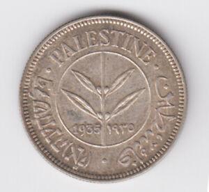 Palestine-British-Mandate-Silver-Coin-Israel-50-Mils-Mil-1935-KM6-Rare-Grade