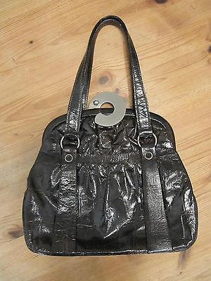 Damen Leder Handtasche dunkelbraun Kroko-Lederoptik