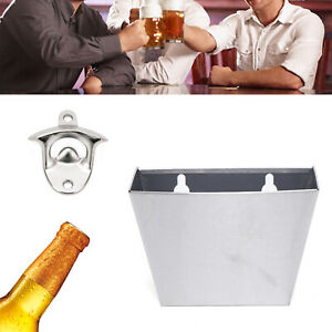 Wall Mount Stainless Home kitchen Bar Bottle Beer Opener Cap Catcher Box kits US