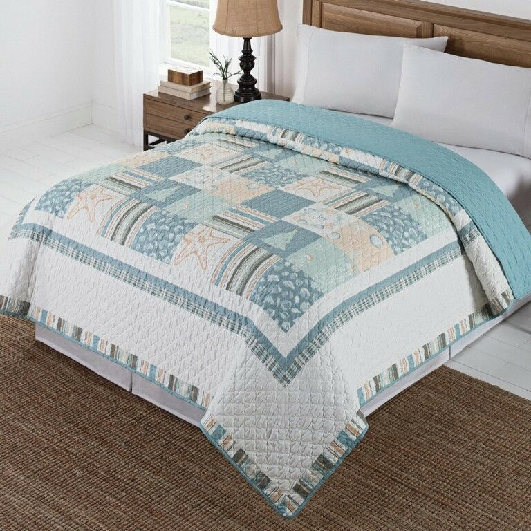 Twin Quilt Comforter Coastal Christmas Nautical Reversible NEW Patchwork
