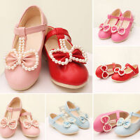 Children Girl BabyToddler Kid Princess Lace Beading Bow Party Flat Shoes