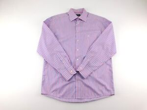 Eton-Mens-Pink-Blue-Striped-Button-Front-Collared-Dress-Shirt-16-5-42