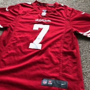 newest e4e58 a10ba Details about NIKE SF 49ers NFL Kaepernick Youth Large Football Jersey Red  ON FIELD #7