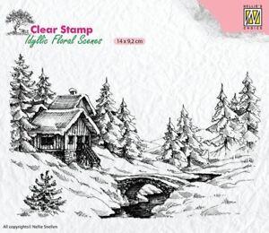 Motiv-stempel-Clear-stamp-Winter-Scene-1-Landschaft-Haus-Nellie-Snellen-IFS009
