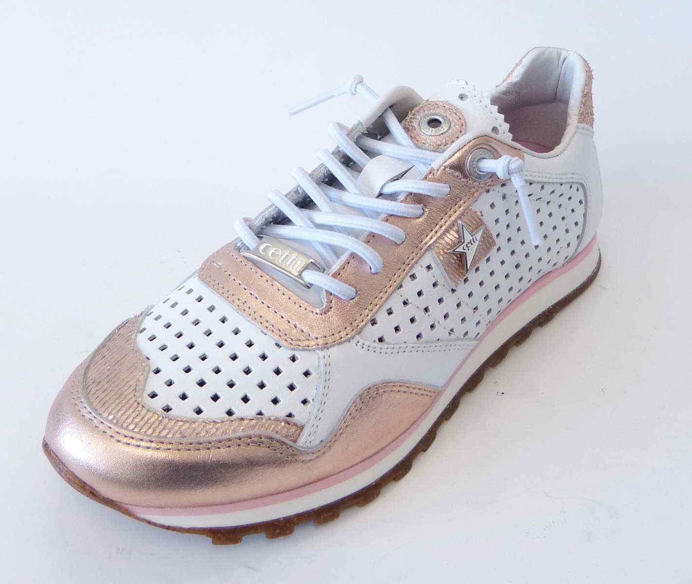 Cómodo y bien parecido Barato y cómodo Cetti Sneaker C848 weiß blanco rose platino Leder Gummisenkel Soft Sohle