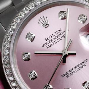 Women-039-s-Rolex-36mm-Datejust-Stainless-Steel-Metallic-Pink-Diamond-Dial-Watch