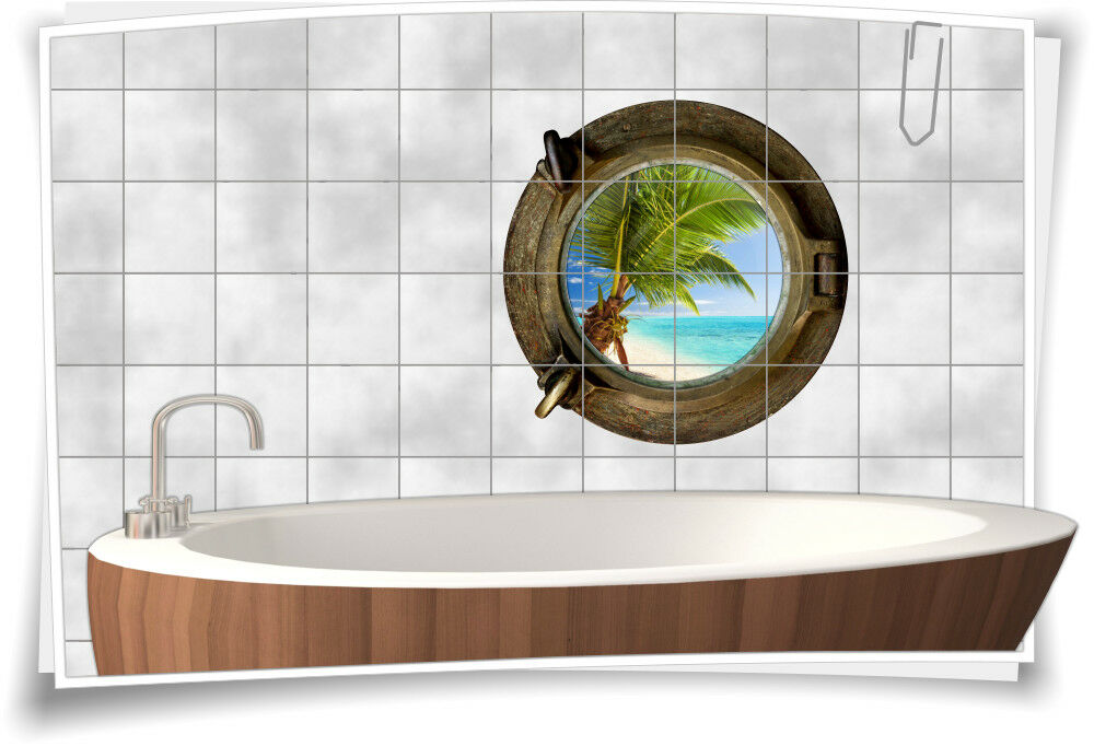 Fliesenaufkleber Fliesenbild Fliesen Bullauge Wasser Meer Strand Aufkleber Bad | Primäre Qualität