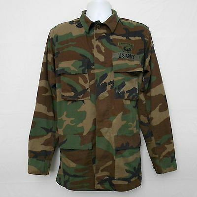 Men's Vintage Army Jacket Sz MEDIUM X-LONG Woodland Camouflage BDU with Patches