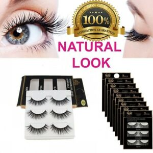 0807607e617 3D Mink Natural Thick False Fake Eyelashes Hand Made Lashes Makeup ...