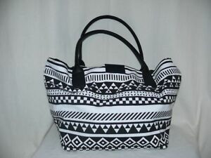TOM-TAILOR-Schultertasche-Tasche-Shopper-Handtasche-Canvas-schwarz-weiss