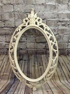 Vintage 1962 Syroco Inc Ivory Oval Ornate Plastic Mirror Frame Shabby Chic Ebay
