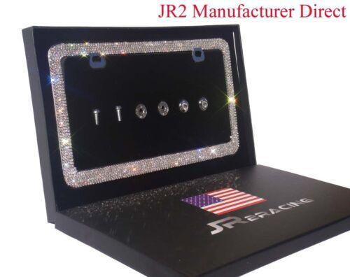 JR2 Luxury Handmade Super Bling Crystal Metal License Plate Frame+Anti theft Cap
