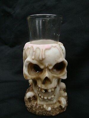 Hell Gothic Totenkopf Mit Schnapsglas Figur Deko Totenköpfe Teelichthalter Hoch 12,5