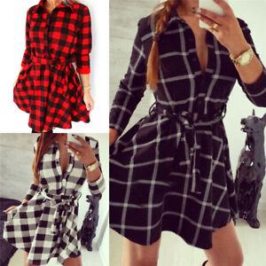 Women-Hot-Plaid-Turn-down-Collar-Shirt-Casual-Tunic-Shirt-Dresses-Office-Dress-Z