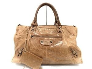 Auth-BALENCIAGA-The-Work-132110-LightBrown-Leather-Handbag