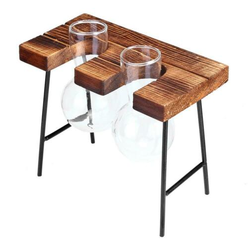 Creative Wooden Frame Vase Hydroponic Plant Flower Transparent Glass Container