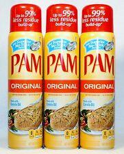 3 PAM No-Stick Cooking Spray ORIGINAL Canola Oil Bottle~ 8 Fl. 0z.