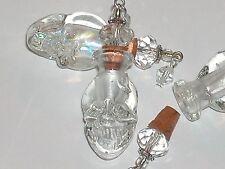 1pc Glass Skull BOTTLE Vampire Witch skeleton oil perfume bottle cork pendant