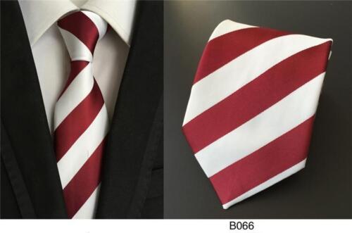 Dark Red and White Stripe Patterned Handmade 100/% Silk Wedding Tie 8cm Width