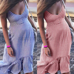 Size-Womens-Ladies-Summer-Beach-Midi-Dress-Holiday-Strappy-Ruffle-Sun-Dresses-UK