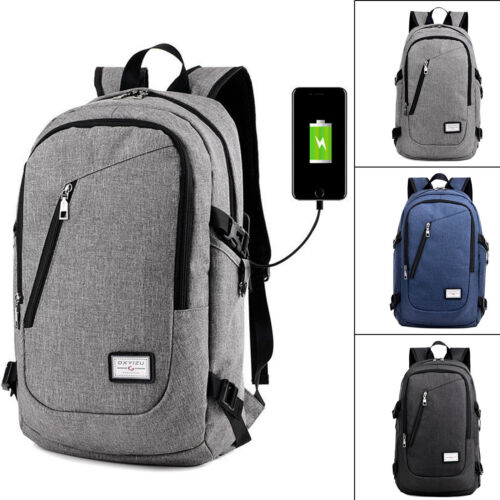 Mens Womens Digit Anti-Theft Lock USB Charging Laptop Backpack Travel School Bag