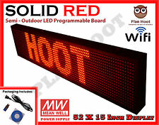 Led Sign 52x15 Red Color Semi Outdoor Programmable Scrolling Usb Wifi App