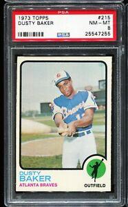 1973-Topps-Baseball-215-DUSTY-BAKER-Atlanta-Braves-PSA-8-NM-MT