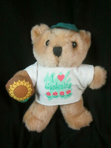 """1997 Avon Gift Collection Pastime Pals Teddy Bear I Love Gardening 5"""""""